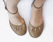 Flat shoes - Kali - Handmade Leather ballet flats with ankle strap - Summerwear - CUSTOM FIT