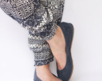 Ballet flats - Eko in Navy Blue - Handmade Leather ballerinas - Barefoot type - Minimalistic soles and CUSTOM FIT