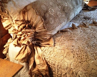 King Pillow Shams Pair  Shabby Chic Junk Gypsy Steampunk Magnolia Pearl Lagen Look Neo Victorian Flash and Trash