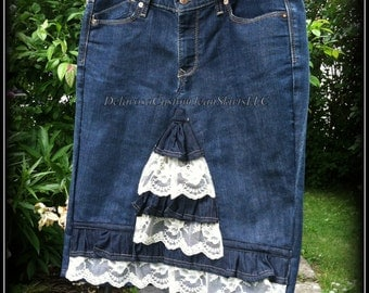 DELAROSA Reduced Price -Aspyn Vintage Lace ruffle denim skirt Ready to Ship! size 8-10