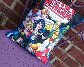 Justice League DC comic book 14x14 Pillow Cushion Cover Upcycled Tshirts Eco