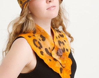 Wool felted hat  and scarf Art To Wear,  Hand made, OOAK hat, felted hat, winter hat, wild hat.