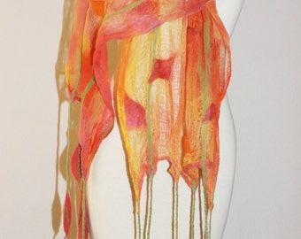 Felted scarf, Nuno Felted Scarf, wrap OOAK Wearable Art , Nuno felt scarves, Nuno Felt, orange scarf