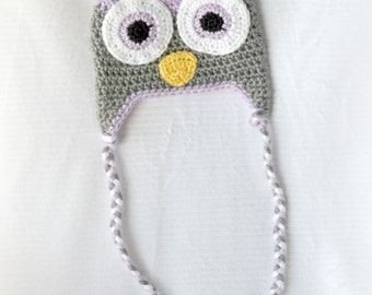 READY TO SHIP - Crochet Baby Owl Earflap Hat - 3-6 months - Orchid and Heather Grey