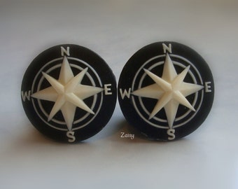 Compass Cameo Plugs for Gauged Ears, Sizes 9/16 inch, 5/8 inch, 3/4 inch, 7/8 inch, 1 inch