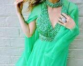 EMERALD green goddess dress. cape maxi dress. red carpet dress gucci style cannes gown sequin bust glamour mermaid princess gown retro glam