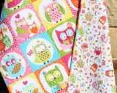 Owl Baby Quilt, Girl Patchwork, Bedding Blanket, Nursery Crib Cot, Pink Orange Aqua Blue, Chevron Child Youth Toddler, Ready To Ship