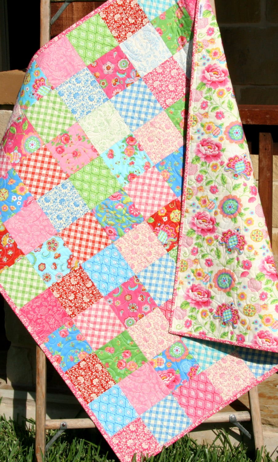 Gypsy Girl Baby Quilt Patchwork Pink Blue Girly Girl