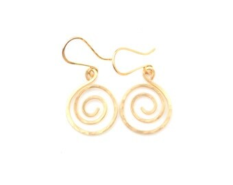 Gold Spiral Earrings, Hammered Gold Spiral Dangle Earrings, Hand Forged Artisan Spiral Earrings