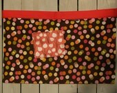 Fall colors, brown, coral, yellow polka dots half apron, large pocket, for gardening, waitress, artist, kitchen, teacher plus size