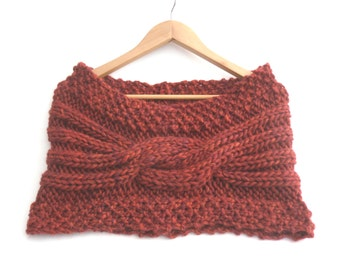 Womens stole  , maroon chunky knit  , red hand knitted wool cowl , soft & warm winter accessories ,  big cable knit , mothers gift for her