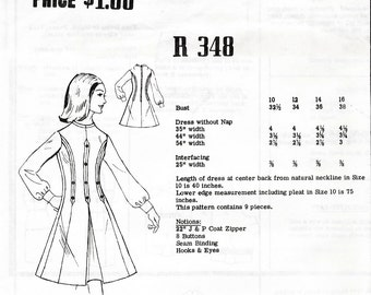 Fashion Pattern R348 Vintage 60s Misses' Dress Mail Order Sewing Pattern - Unused - Size 14 - Bust 36