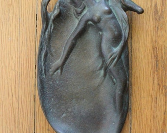 Antique early 1900's Art Nouveau Bronze Jewelry Dish with Nude Figure