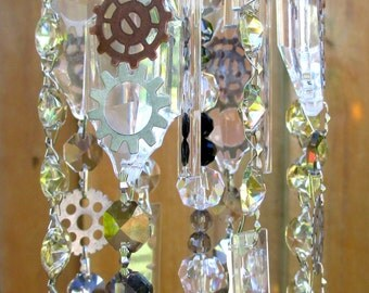 Steampunk Crystal Prism Wind Chime - Indoor or Outdoor - INDUSTRIAL REVOLUTION