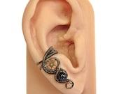 Iolite and Bronze Small Steampunk Ear Cuff - Steampunk Jewelry