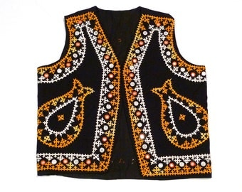 Black Embroidered Vest with Mirrors Vintage India Vest Shisheh Mirrored and Embroidery Hippie Boho Medium to Large Paisley Indian Mystical