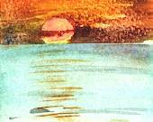 Peachy Sunset print of watercolor by Mary Blocksma 8x10 Mat