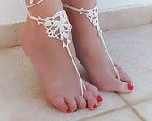 Crochet Cream Barefoot Sandals, Foot jewelry, Bridesmaid gift, Barefoot sandles, Beach, Anklet, Wedding shoes, Beach Wedding, Summer shoes