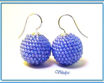 Crocheted Lilac earrings ball  hooks sterling silver. Seed Beads Earrings. Handmade Unique jewelry. Gift ideas for her.