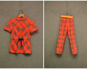 1970s Girl's Red Plaid Top and Bell Bottoms Set