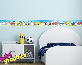 cars, transport vehicles wall border stickers - 6.5 feet long & 5.5 inches wide (2 m x 14 cm) - removable (by babygraphics)