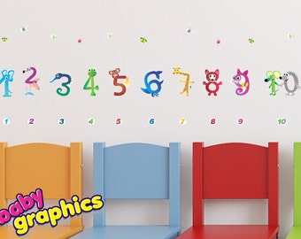 numbers removable wall decals set - re-positionable (by babygraphics)