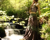 Long Skirt - SilverBirch Skirt - Custom Made to Order - Cotton Jersey - Faerie - Goddess - Gothic Wear - Quintessential Forest Camouflage