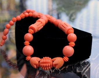 Coral Celluloid Necklace - Art Deco Classic!