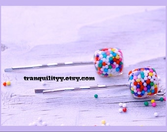 Sprinkle Hair Pins, 2 Sprinkle Hair Clip , Rave, Scene, Hipster , Birthday ,Child , Girls, Teens, By: Tranquilityy
