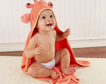 "Toddler's Personalized ""Lobster Laughs"" Lobster Hooded Towel"