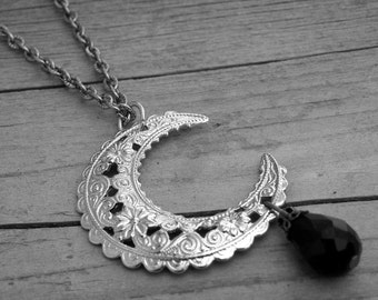 Silver Filigree Crescent Half Moon and Black Crystal Bead Necklace Halloween Silver Moon Jewelry Gothic Goth Witchcraft Occult Witch Craft