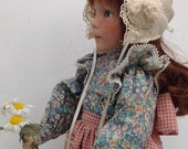 Miniature Vintage Baby Bonnet Shadow Box Memory Doll Bonnet