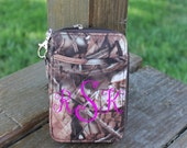 Brown Camo Quilted Wristlet Personalize or Monogram Included