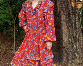 80's Diane Freis Red Floral Fiesta Dress