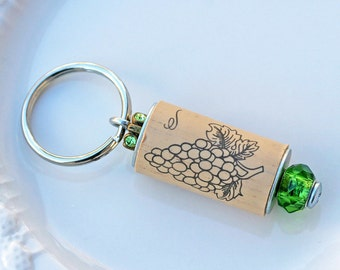 Wine Cork Keychain, Green Wine Cork Keychain, Keychain, Wine Cork, Wine Cork Key Ring, Key Ring, Cork Keychain, Cork Key Ring