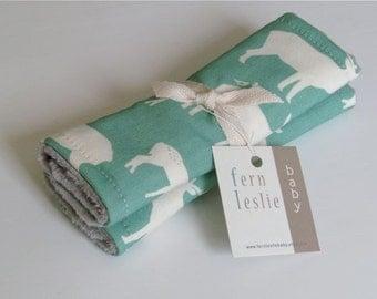 Baby Car Seat Strap Covers - Elk -  Reverses to Light Grey Minky -  Mint, Cream