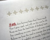 "Letterpress Broadiside - ""Prayer of an Anonymous Abbess"""