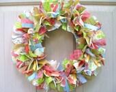 Fabric Wreath - Rag Wreath - Ribbon Wreath - Spring Wreath - Summer Wreath - Door Wreath - Shabby Cottage Chic Country Farmhouse Decor