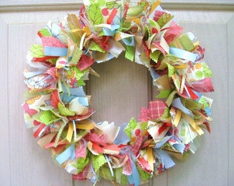 Fabric Wreath - Rag Wreath - Ribbon Wreath - Spring Wreath - Summer Wreath - Door Wreath - Shabby Cottage Chic Country Farmhouse Decor