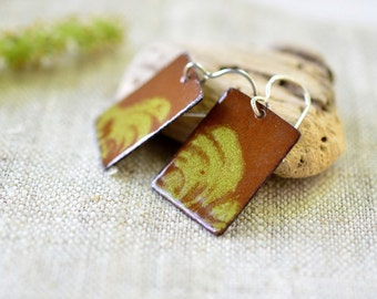 Dangle enamel earrings - brown and chartreuse rectangular earrings - artisan jewelry by Alery