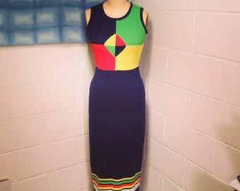 Vintage Navy & Citrus Color Block Knit Maxi Dress Mod Medium