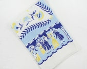 Vintage Colonial Style Tablecloth in Blue & Yellow - Men, Women, Horse and Carriage, Tole Flowers, Scrolled Ribbon on Linen - Table Cloth