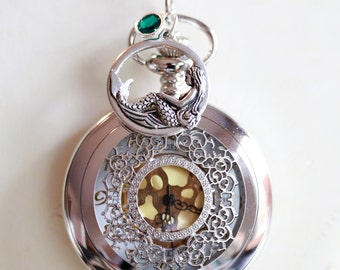 Pocket Watch Necklace With Mermaid ,Birthstone,jewelry gift,Locket,Necklace,Wedding