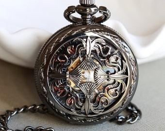 Black Personalized Mens Pocket Watch,Mechanical Pocket Watch,Steampunk Pocket Watch,Pocket Watch Chain,Groom Gift,Groomsmen Gift
