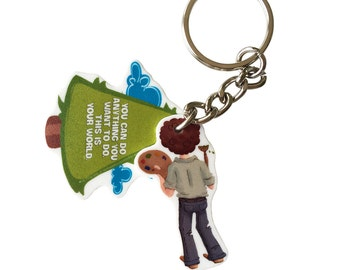 Bob Ross Keychain - This Is Your World - Officially licensed product.
