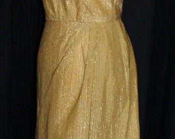 Vintage late 1950s early 1960s Grecian style gold lurex faux sarong wiggle cocktail dress L XL rockabilly Viva
