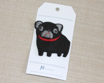 Girls hair clip black pug feltie covered snap hair clip 100% Wool Felt