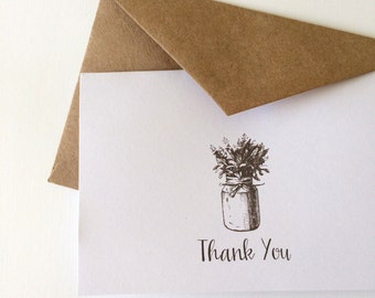 Rustic Mason Jar Thank You cards