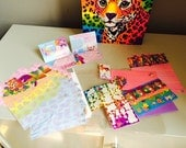 Vintage Lisa Frank lot My Memory Book Hunter the Leopard w/ white pages plus All in one stationery pack stationery envelopes some stickers