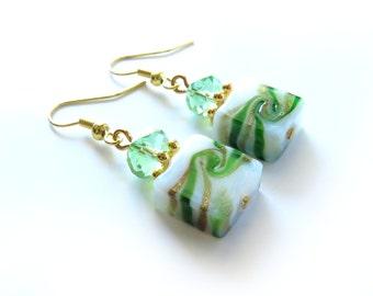 Green Swirl Glass Beaded Gold Earrings